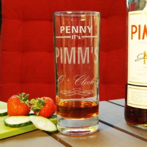 Personalised Engraved Pimms O'Clock Drinks Glass